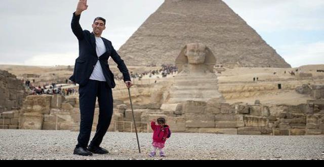 Conozca a la mujer más pequeña y al hombre más alto del mundo
