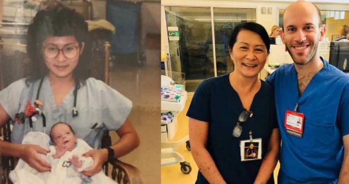 Una enfermera acaba trabajando con el bebé prematuro que cuidó 28 años antes